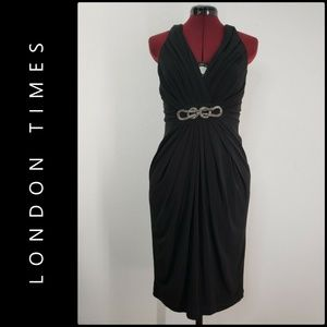 London Times Woman Criss Cross Back Dress Size 6